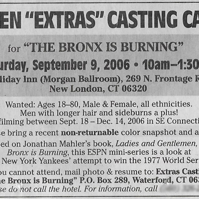 'The Bronx Is Burning' casting notice